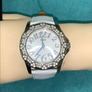 Guess watch in white, new battery